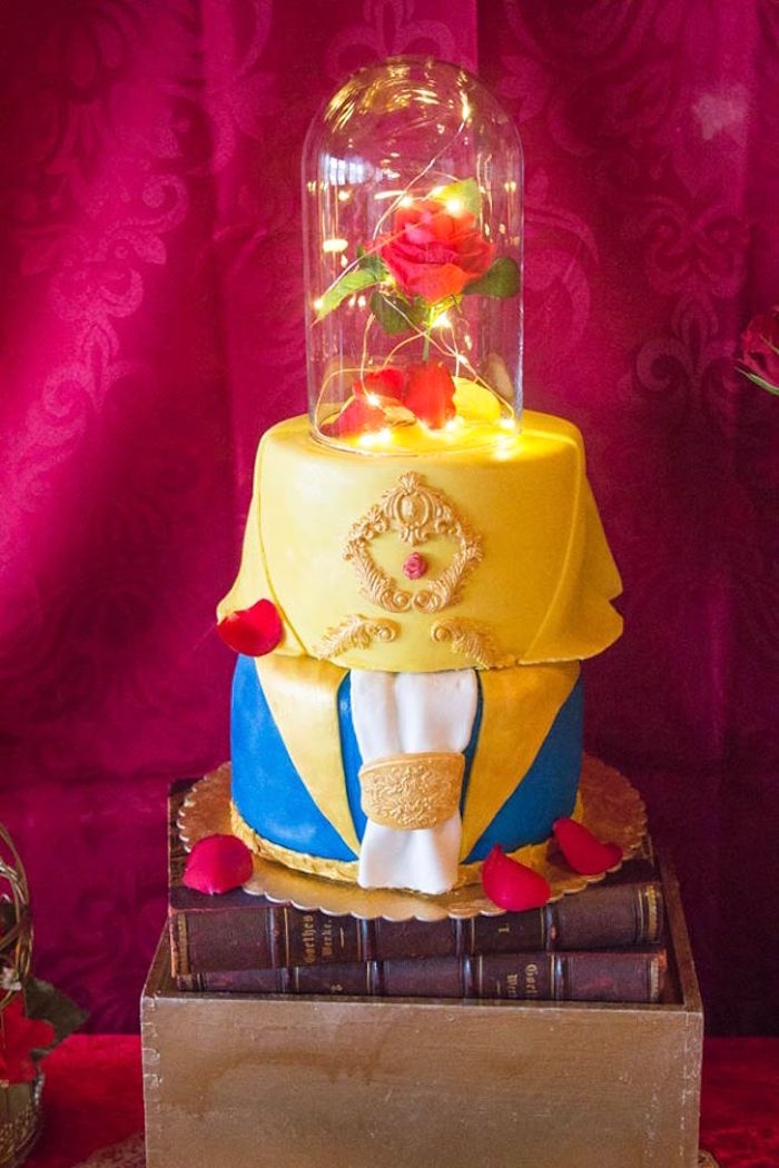Enchanted Rose Cake from a Beauty and the Beast 1st Birthday Party on Kara's Party Ideas | KarasPartyIdeas.com (9)
