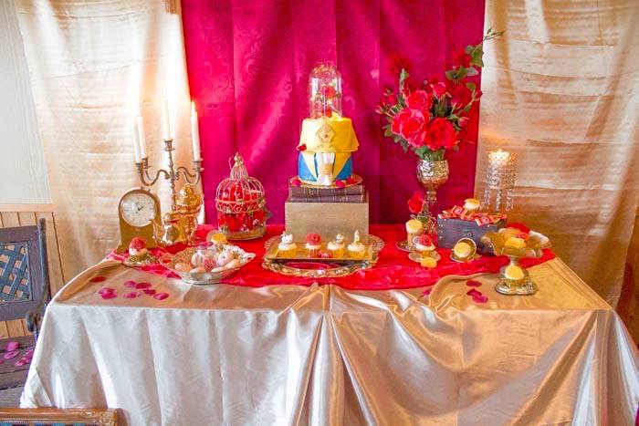 Kara 39 s party ideas beauty and the beast 1st birthday party for 13 ka table