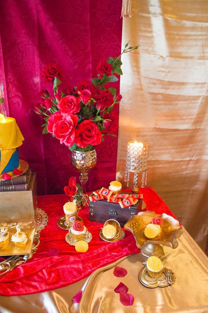 Sweet table detail from a Beauty and the Beast 1st Birthday Party on Kara's Party Ideas | KarasPartyIdeas.com (6)