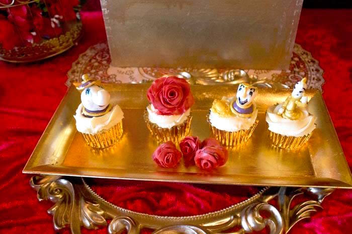 Cupcakes from a Beauty and the Beast 1st Birthday Party on Kara's Party Ideas | KarasPartyIdeas.com (5)