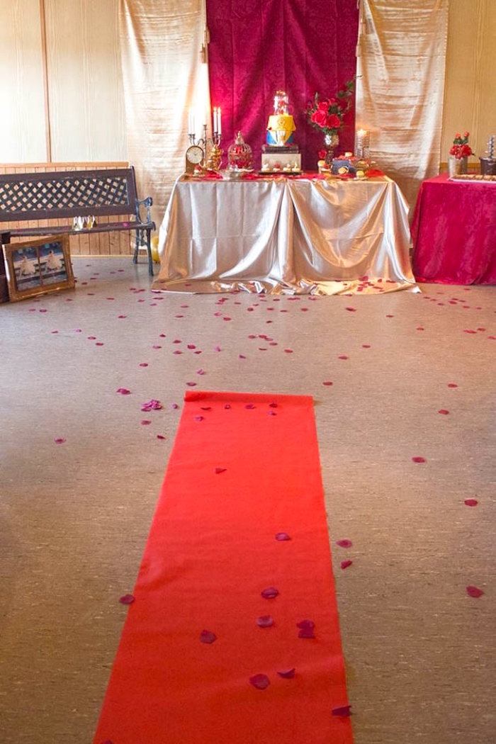 Red Carpet entrance from a Beauty and the Beast 1st Birthday Party on Kara's Party Ideas | KarasPartyIdeas.com (4)