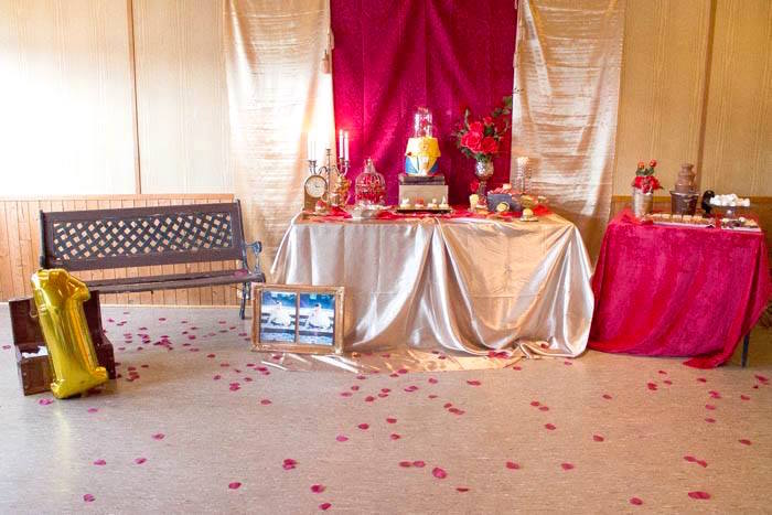 Rose covered partyscape from a Beauty and the Beast 1st Birthday Party on Kara's Party Ideas | KarasPartyIdeas.com (18)