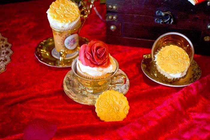 Enchanted Rose Cupcakes from a Beauty and the Beast 1st Birthday Party on Kara's Party Ideas | KarasPartyIdeas.com (13)