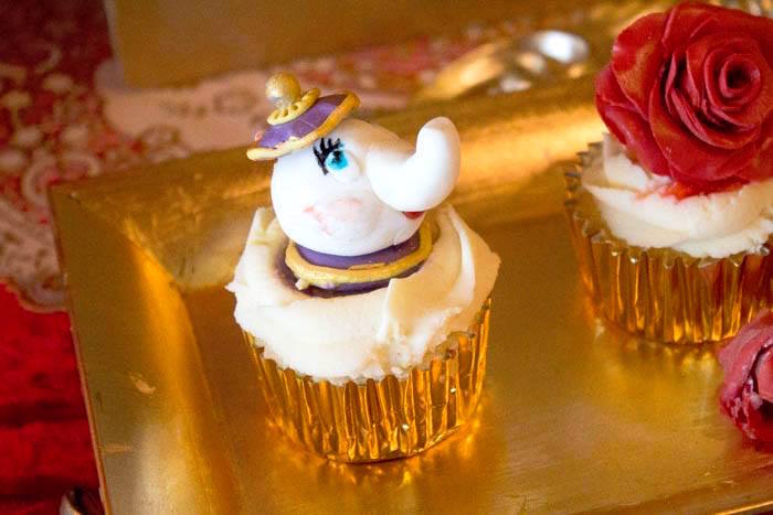 Mrs. Potts Cupcake from a Beauty and the Beast 1st Birthday Party on Kara's Party Ideas | KarasPartyIdeas.com (12)