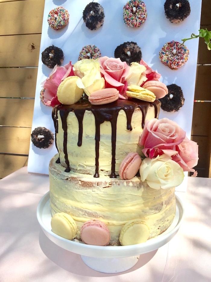 Floral drip cake from a Bohemian Dreams Baby Shower on Kara's Party Ideas   KarasPartyIdeas.com (11)