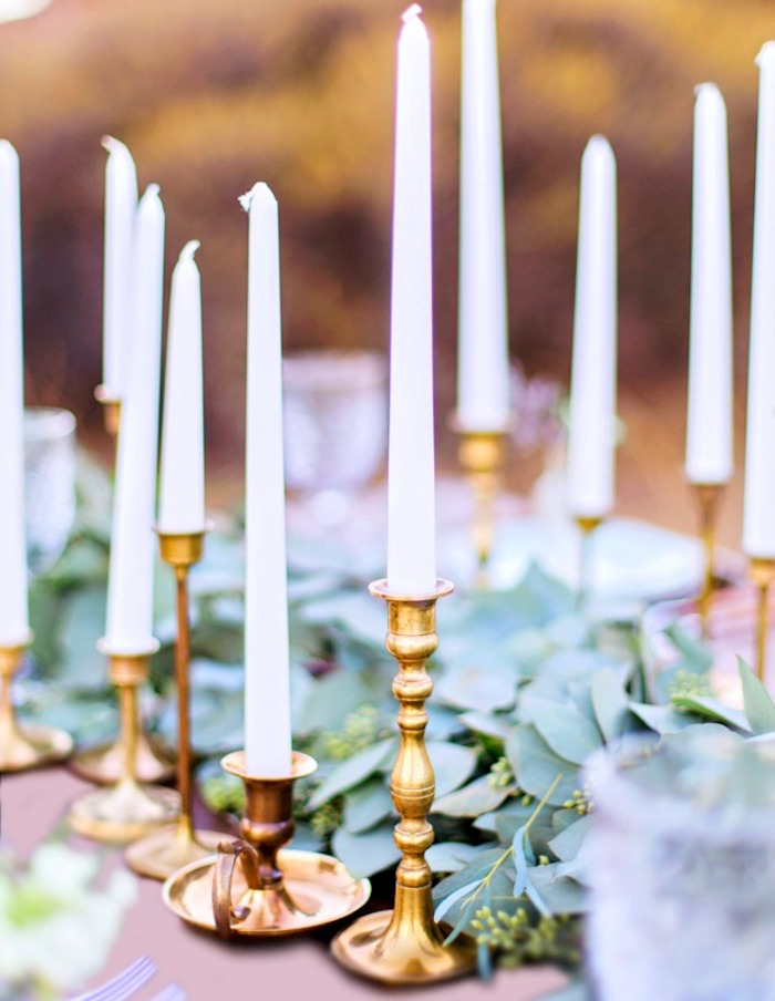 Gold candlesticks from a Bohemian Dreams Baby Shower on Kara's Party Ideas | KarasPartyIdeas.com (7)