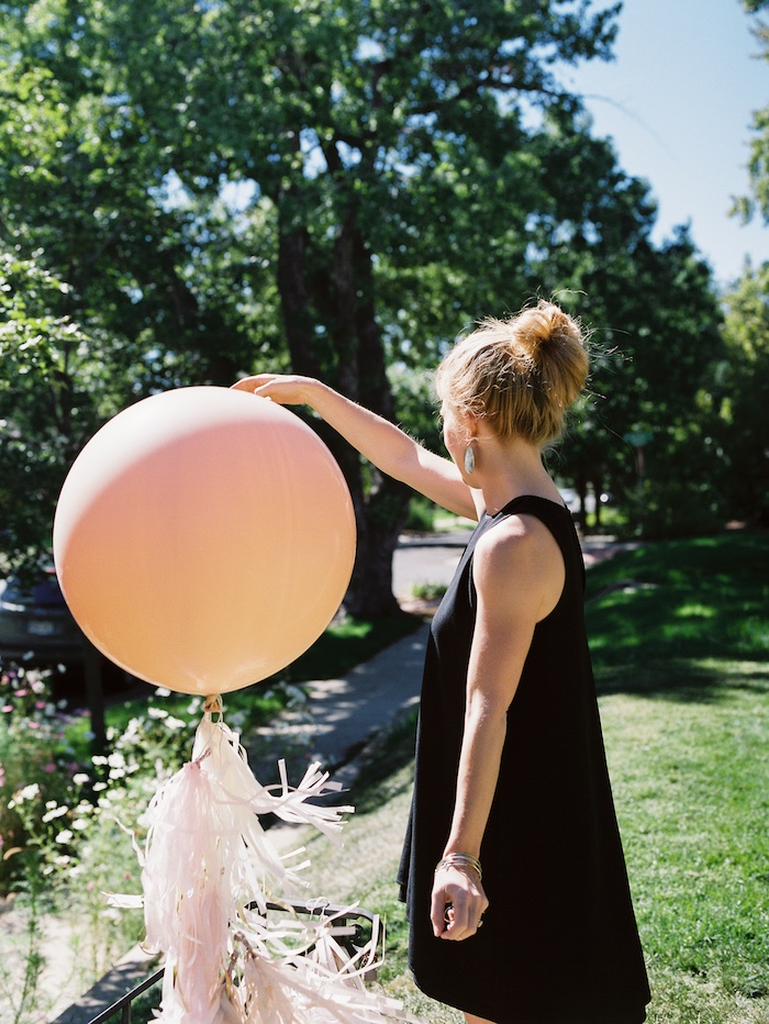 Orange jumbo balloon with tassel tail from a Bohemian Dreams Baby Shower on Kara's Party Ideas | KarasPartyIdeas.com (3)