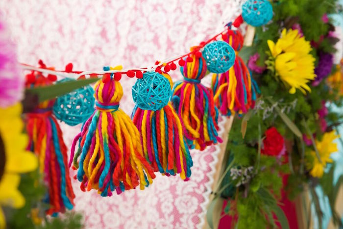 Boho tassel garland from a Bohemian Sleepover Birthday Party on Kara's Party Ideas | KarasPartyIdeas.com (20)