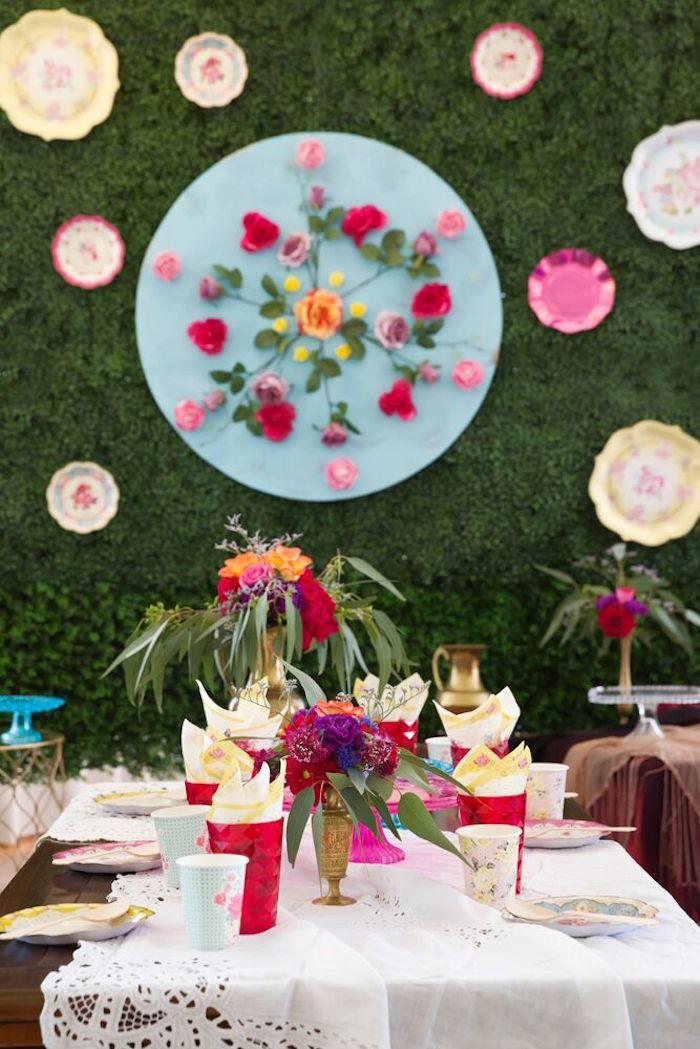 Guest table from a Bohemian Sleepover Birthday Party on Kara's Party Ideas | KarasPartyIdeas.com (19)