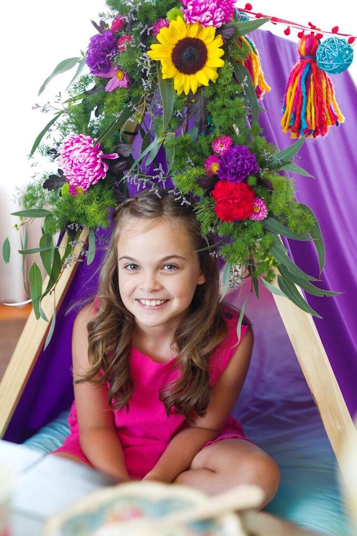 Floral bunting from a Bohemian Sleepover Birthday Party on Kara's Party Ideas | KarasPartyIdeas.com (12)