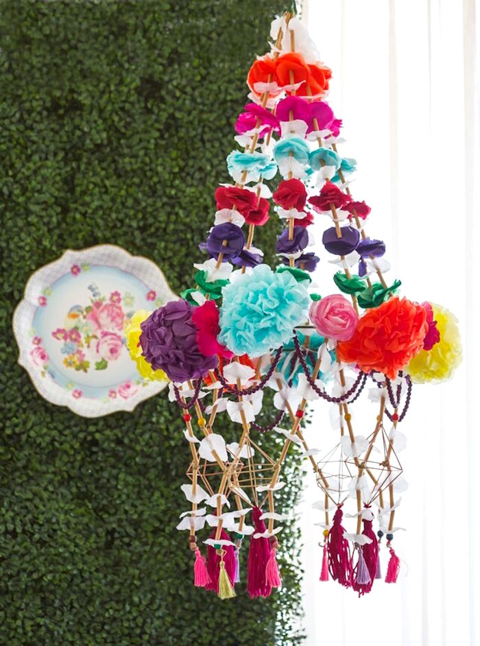 Boho chandelier from a Bohemian Sleepover Birthday Party on Kara's Party Ideas | KarasPartyIdeas.com (29)