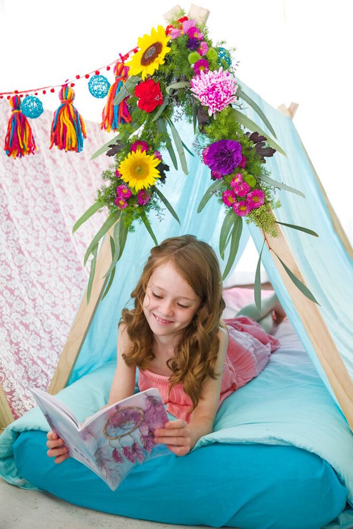 Colorful boho teepee from a Bohemian Sleepover Birthday Party on Kara's Party Ideas | KarasPartyIdeas.com (9)