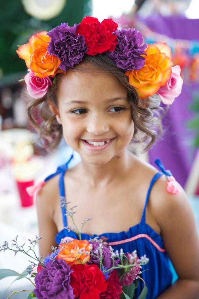 Floral crown from a Bohemian Sleepover Birthday Party on Kara's Party Ideas | KarasPartyIdeas.com (8)