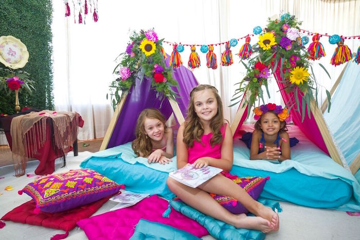 Colorful teepees from a Bohemian Sleepover Birthday Party on Kara's Party Ideas | KarasPartyIdeas.com (5)