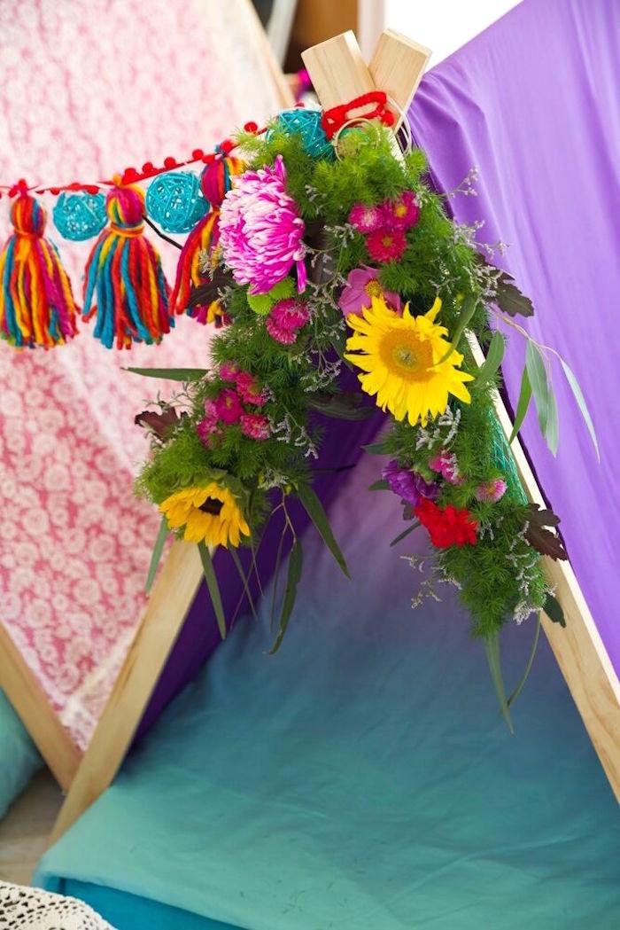 Flower adorned teepee from a Bohemian Sleepover Birthday Party on Kara's Party Ideas | KarasPartyIdeas.com (28)