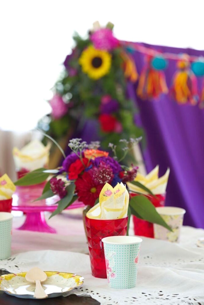 Place setting from a Bohemian Sleepover Birthday Party on Kara's Party Ideas | KarasPartyIdeas.com (27)