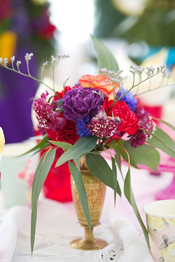 Floral centerpiece from a Bohemian Sleepover Birthday Party on Kara's Party Ideas | KarasPartyIdeas.com (24)