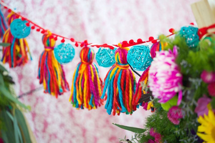 Yarn tassel garland from a Bohemian Sleepover Birthday Party on Kara's Party Ideas | KarasPartyIdeas.com (23)