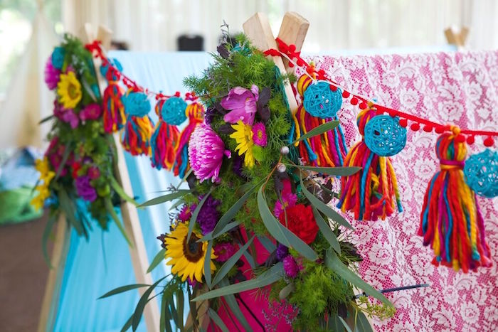 Tassel garland and floral bunting from a Bohemian Sleepover Birthday Party on Kara's Party Ideas | KarasPartyIdeas.com (22)