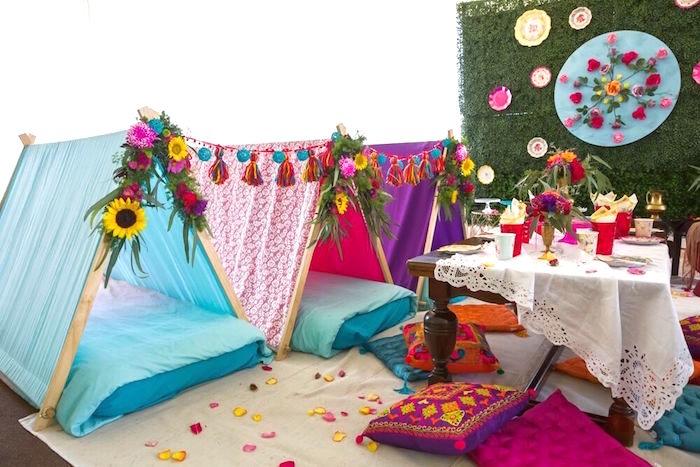 Beautiful boho teepees from a Bohemian Sleepover Birthday Party on Kara's Party Ideas | KarasPartyIdeas.com (21)