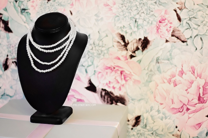 Strands of pearls from a Breakfast at Tiffany's Inspired Bridal Shower on Kara's Party Ideas | KarasPartyIdeas.com (24)