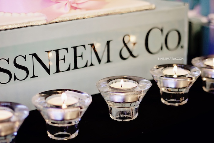 Tea light candles in glass vases from a Breakfast at Tiffany's Inspired Bridal Shower on Kara's Party Ideas | KarasPartyIdeas.com (23)
