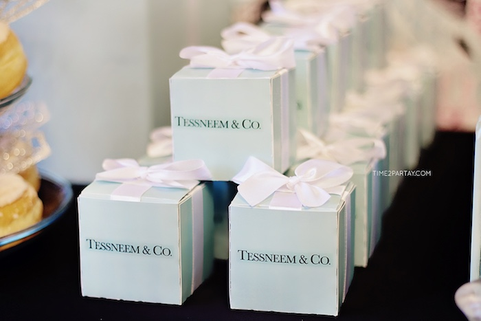 favor boxes from a breakfast at tiffanys inspired bridal shower on karas party ideas karaspartyideas