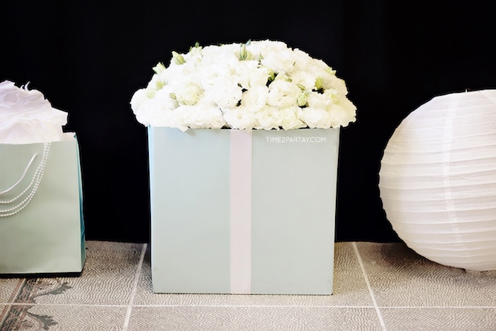 Box of blooms from a Breakfast at Tiffany's Inspired Bridal Shower on Kara's Party Ideas | KarasPartyIdeas.com (17)