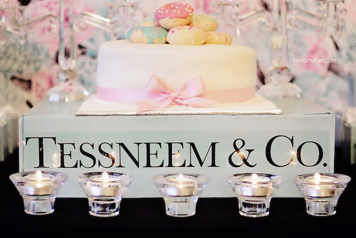 cake and candles from a breakfast at tiffanys inspired bridal shower on karas party ideas