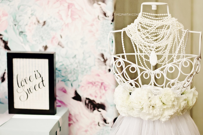 Floral dressform from a Breakfast at Tiffany's Inspired Bridal Shower on Kara's Party Ideas | KarasPartyIdeas.com (16)