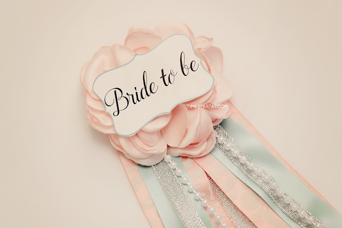 """Bride to Be"" ribbon from a Breakfast at Tiffany's Inspired Bridal Shower on Kara's Party Ideas 