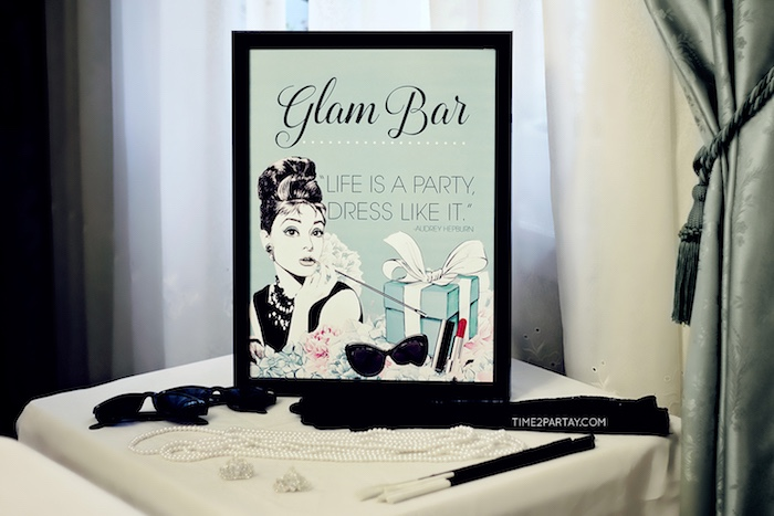 Glam Bar from a Breakfast at Tiffany's Inspired Bridal Shower on Kara's Party Ideas | KarasPartyIdeas.com (14)