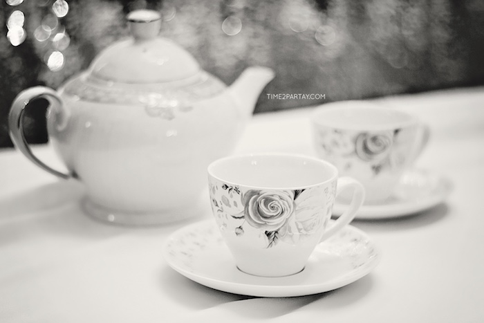Tea cup and saucer from a Breakfast at Tiffany's Inspired Bridal Shower on Kara's Party Ideas | KarasPartyIdeas.com (10)