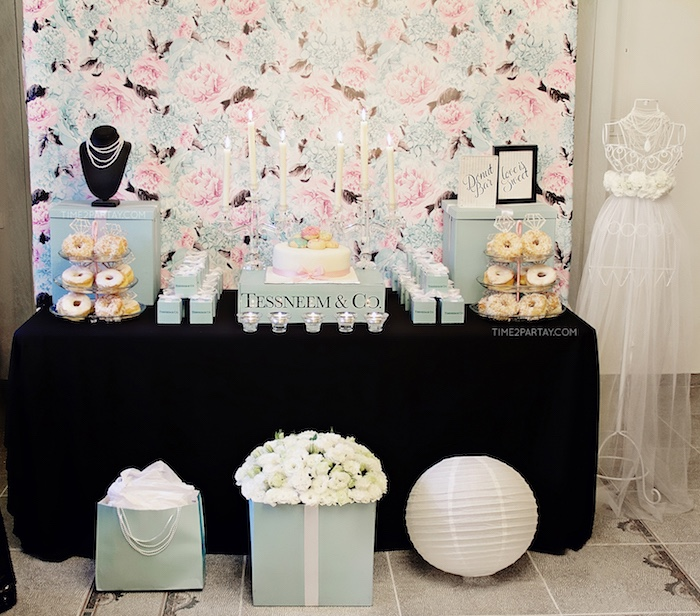 Dessert table from a Breakfast at Tiffany's Inspired Bridal Shower on Kara's Party Ideas | KarasPartyIdeas.com (8)