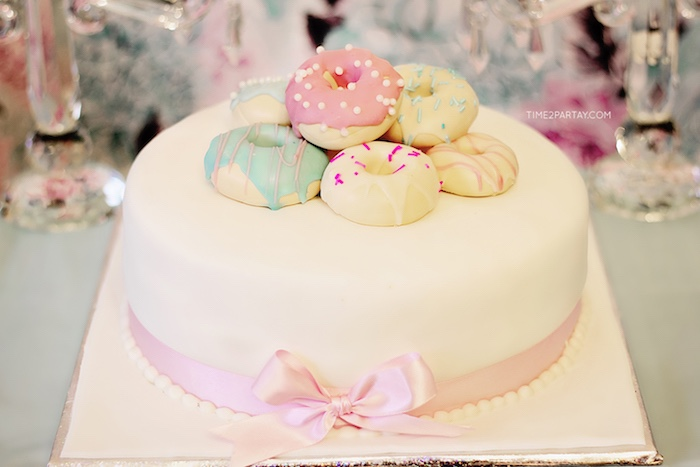Donut cake from a Breakfast at Tiffany's Inspired Bridal Shower on Kara's Party Ideas | KarasPartyIdeas.com (32)