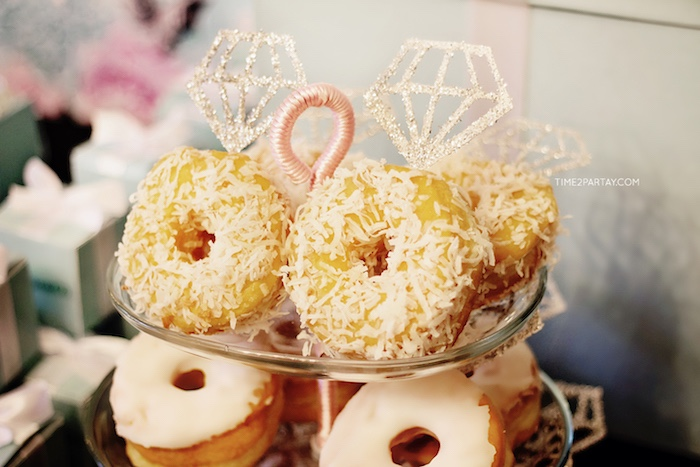 Jeweled donuts from a Breakfast at Tiffany's Inspired Bridal Shower on Kara's Party Ideas | KarasPartyIdeas.com (28)