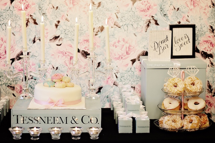 Cake and donut bar from a Breakfast at Tiffany's Inspired Bridal Shower on Kara's Party Ideas | KarasPartyIdeas.com (27)