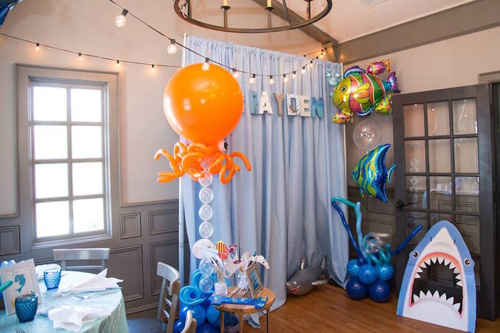 Photo booth from a Bubbly Under the Sea Birthday Party on Kara's Party Ideas | KarasPartyIdeas.com (32)
