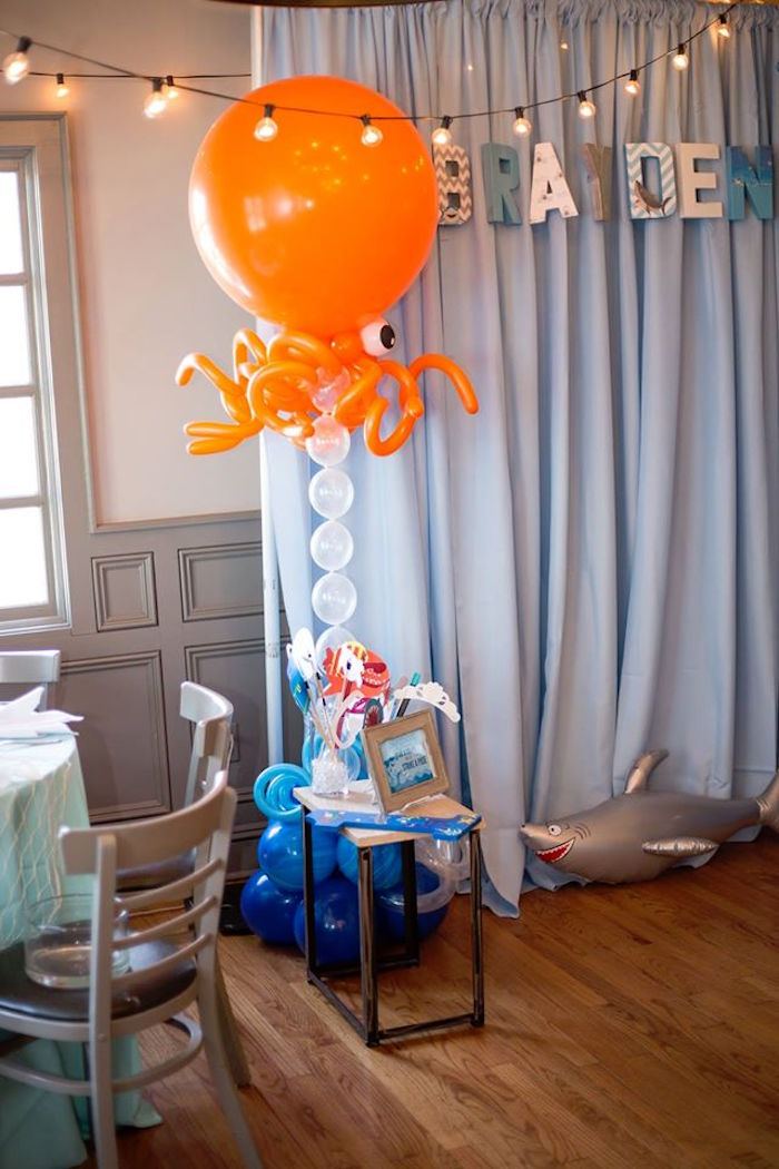 Photo booth from a Bubbly Under the Sea Birthday Party on Kara's Party Ideas | KarasPartyIdeas.com (31)