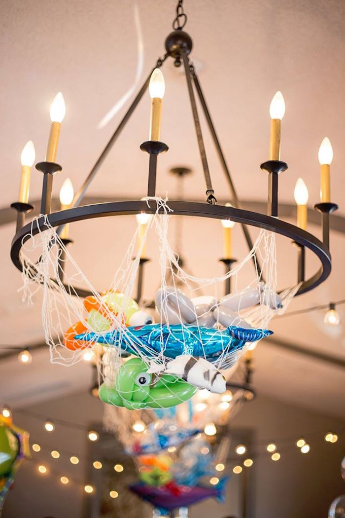 Netted chandelier full of sea creature balloons from a Bubbly Under the Sea Birthday Party on Kara's Party Ideas | KarasPartyIdeas.com (30)