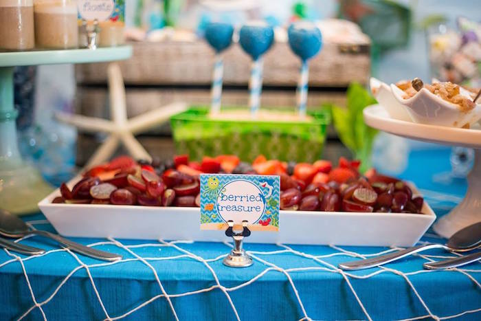 """Berried treasure"" fruit plate from a Bubbly Under the Sea Birthday Party on Kara's Party Ideas 