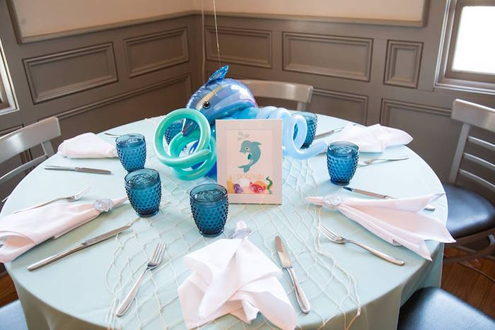 Guest tabletop from a Bubbly Under the Sea Birthday Party on Kara's Party Ideas | KarasPartyIdeas.com (28)