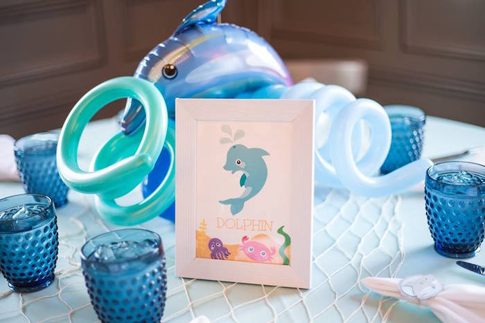 Dolphin table sign + balloon centerpiece from a Bubbly Under the Sea Birthday Party on Kara's Party Ideas | KarasPartyIdeas.com (24)