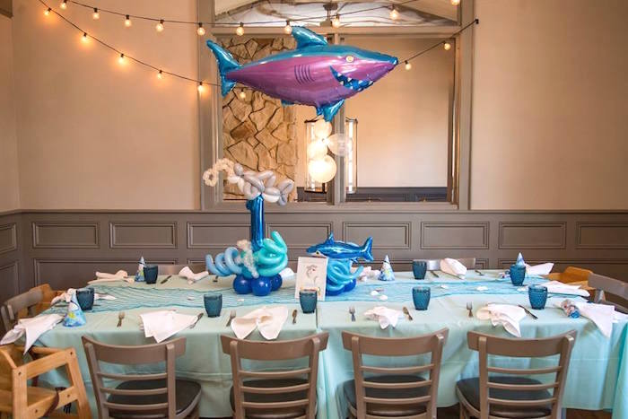 Shark guest table from a Bubbly Under the Sea Birthday Party on Kara's Party Ideas | KarasPartyIdeas.com (41)