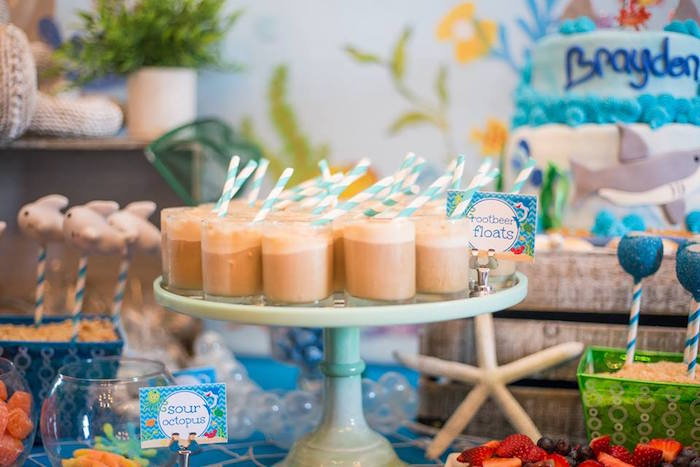 Root-beer floats from a Bubbly Under the Sea Birthday Party on Kara's Party Ideas | KarasPartyIdeas.com (22)