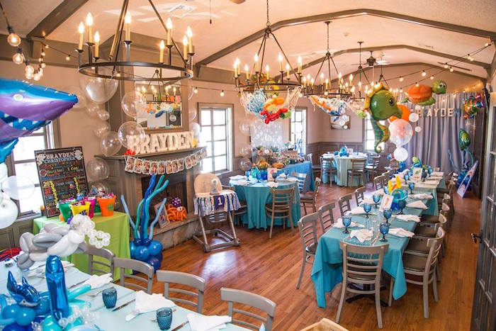 Full partyscape from a Bubbly Under the Sea Birthday Party on Kara's Party Ideas | KarasPartyIdeas.com (21)