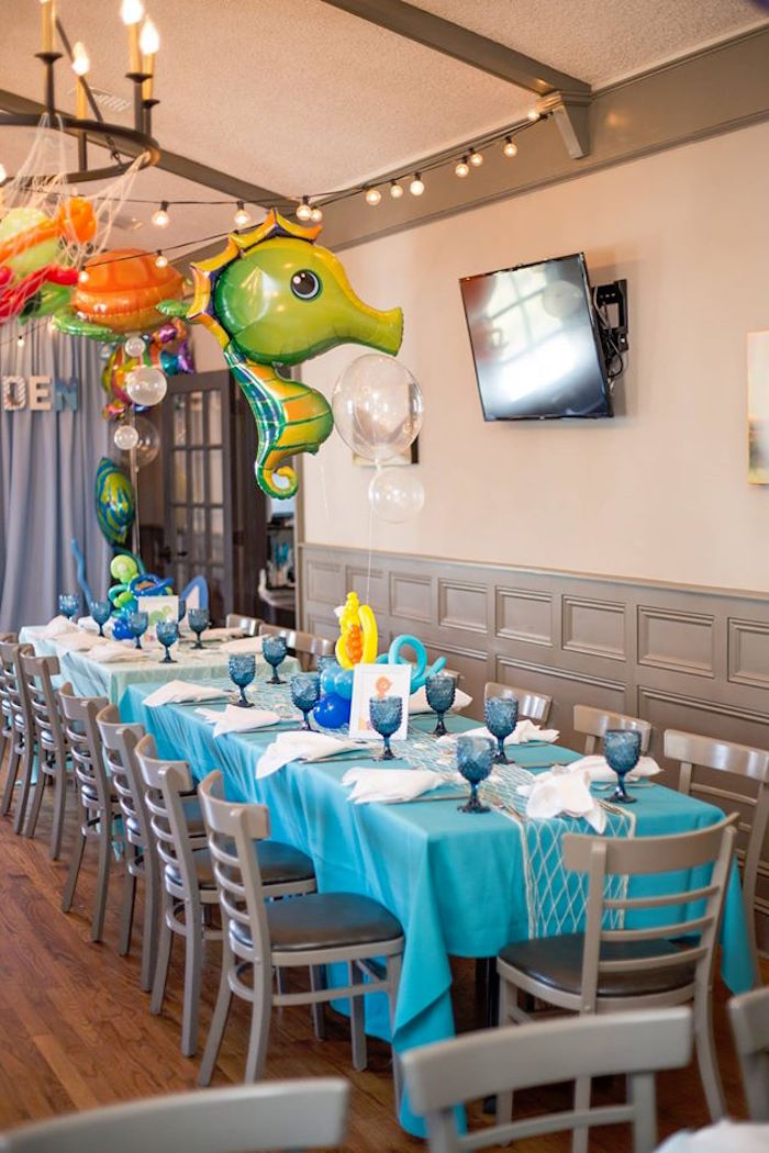 Guest table from a Bubbly Under the Sea Birthday Party on Kara's Party Ideas | KarasPartyIdeas.com (20)
