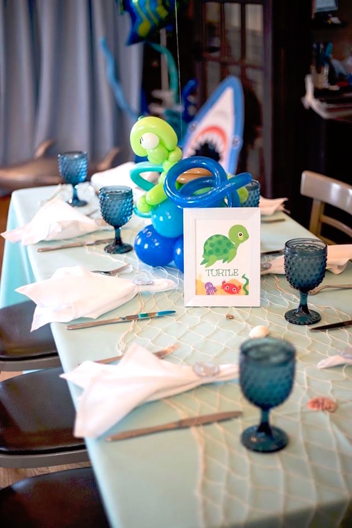 Turtle table from a Bubbly Under the Sea Birthday Party on Kara's Party Ideas | KarasPartyIdeas.com (19)
