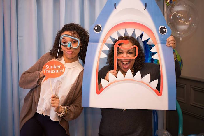 Photo booth fun from a Bubbly Under the Sea Birthday Party on Kara's Party Ideas | KarasPartyIdeas.com (18)