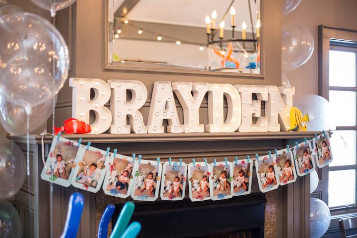 First year photo banner + marquee letter sign from a Bubbly Under the Sea Birthday Party on Kara's Party Ideas | KarasPartyIdeas.com (14)